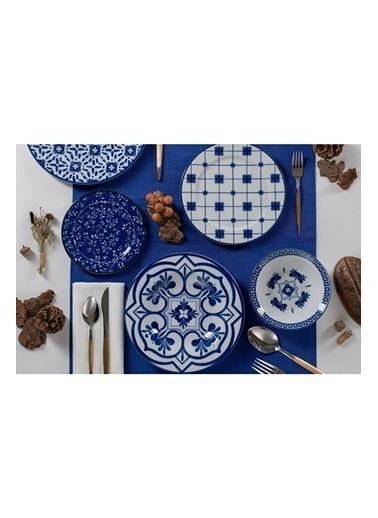 Porland 04Por033318 Ege 32 Parça 6 Kişilik Mavi Desenli Yemek Takımı Renkli